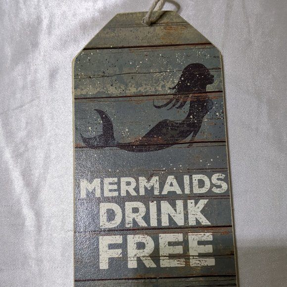 Vintage Mermaid Small Wooden Plaque with Rope